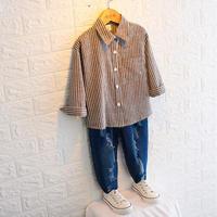 再入荷★kids☻ユニセックスok!シンプルデザインストライプシャツ【ブラック】#107