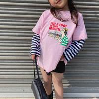kids【90-140】プリントデザインボーダー切替ドッキングトップス#992
