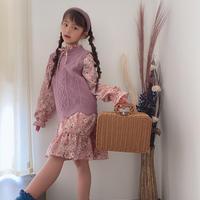 kids【110-160】花柄ワンピース+ニットベスト【ピンク✖️ラベンダー】#973