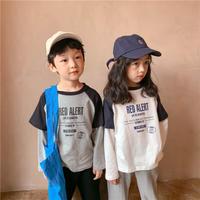 kids ユニセックス【90-140】英字ラグランデザインレイヤードロンTee【グレー】#1197