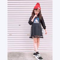 ☺︎kids☻ガールズフォトプリント長袖ワンピース【ブラック】