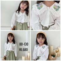 kids☻花柄デザインBIG襟シンプルシャツ#933