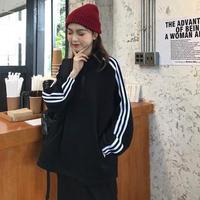 ☺︎レディース・ジュニア★サイドラインデザインシンプルジップ付裏起毛トップス【ブラック】