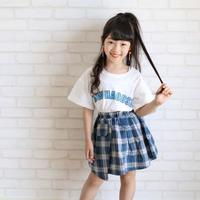 kids☻ 英字デザイントップス+チェック柄スカートセット 【ブルー】#569