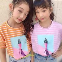 ☺︎kids☻ソフトクリームフォトプリントデザインボーダートップス【ピンク】#232