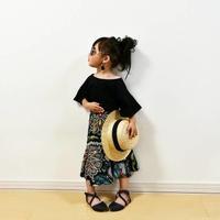 kids☻無地トップス+ロング丈スカートセット