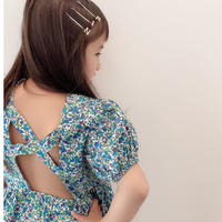 kids☻小花柄デザイン背中開きワンピース【ブルー】#536