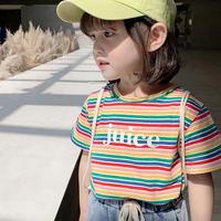 kids☻英字デザインカラフルボーダー半袖Tシャツ #535