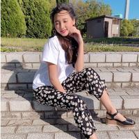kids☻半袖トップス+花柄ボトムセット【ホワイト】#532