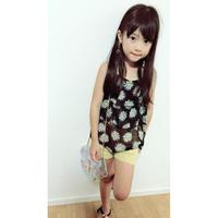 ☺︎kids【2点セット】花柄2段フリルキャミ+ショートパンツ【イエロー】