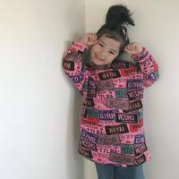 再入荷★kidsユニセックス★ナンバープレートカラフルデザインゆったりトップス【ピンク】#126
