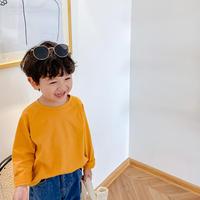 kidsユニセックス【80-140cm】☺︎シンプルデザイン薄手トップス【マスタード】#857