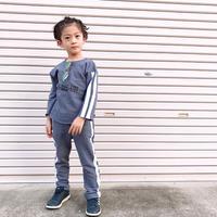 kids兼用ok☻サイドライン英字デザインセットアップ【ブルー】