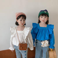 kids【80-130】スクエアデザインフリルシャツ【ホワイト】#1184