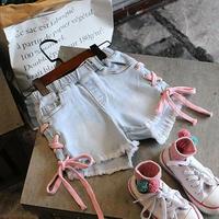 再入荷☺︎kids☻サイド編み上げデニムショートパンツ  【デニム】  ピンク紐