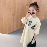 kids【80-130cm】USAロゴデザインシンプルワンピース【オフホワイト】#819