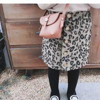 ☺︎kids★フロントボタンデザインレオパード柄タイトスカート