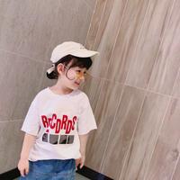 ☺︎kidsユニセックス☻RECORDSロゴ入りデザインTシャツ【ホワイト】#241