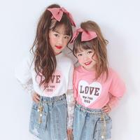 kids☻ LOVEハートプリントレースドッキングトップス【ホワイト】#552