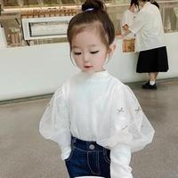 kids【80-140】袖チュールデザイントップス【ホワイト】#1217