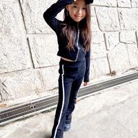 kids【110-160】ジップパーカー+サイドラインパンツセット【ブラック】#1145