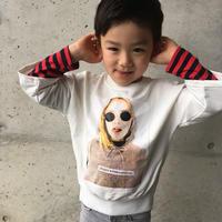 kids兼用ok☻ガールズプリントフェイクレイヤードトップス  【ホワイト】