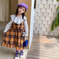 kids☺︎チェック柄デザインカバーオールスカート【イエロー】#823
