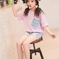 ☺︎kids☆ポケット切替デザイン半袖Tシャツ【ピンク】#258