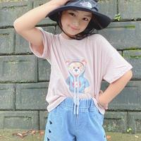 kids【110-160】フードデザインくまちゃんTee +ハートデザインショートパンツセット #1131