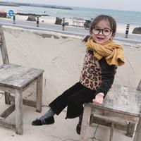 kids☻裏起毛ハイネックトップス+レオパードファーキャミソールセット【ブラック】