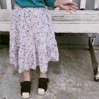 ☺︎kids☻小花柄 ロング丈 スカート【ホワイト】#26