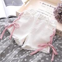 ☺︎kids☻サイド編み上げデニムショートパンツ  【ホワイト】  ピンク紐