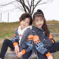 kidsユニセックス☻袖英字デザインデニムジャケット【ブラック】#479