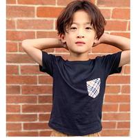 ☺︎kidsユニセックス☻ポケットチェック柄切り替えデザインTシャツ【ブラック】#219