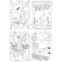 SminkArt塗り絵シール 2種/セット【植物柄 A4サイズ】<塗り絵デザインシール>