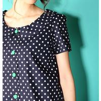 フラットカラーの水玉シャツ♡  ネイビー水玉