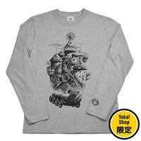 〔予約販売2020年10月下旬〜11月上旬発送予定〕[YokaiShop限定Ver]悪魔くん 見えない学校 ロングスリーブ T-Shirts Color  グレー