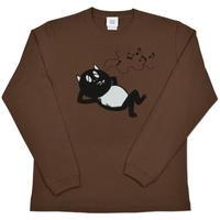 〔予約販売2021年10月下旬〜11月上旬発送予定〕河童の三平 うたたねたぬき ロングスリーブ T-Shirts Color  こげ茶