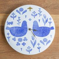 かとうようこ 陶作品「時計 大・とり二羽」