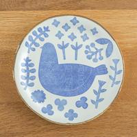 かとうようこ 陶作品「丸皿 18cm・とり」