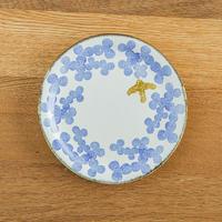 かとうようこ 陶作品「丸皿 15cm・みつば(青)」