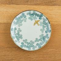 かとうようこ 陶作品「丸皿 15cm・みつば(緑)」