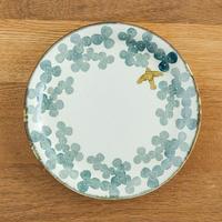 かとうようこ 陶作品「丸皿 18cm・みつば(緑)」