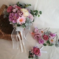 ピンクグラデーションのロマンティックなクラッチブーケ   /3点set