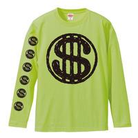 """$""OBUT LONG Tシャツ ライムグリーンxBLACK"