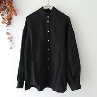 MAGALI マガリ | シャドーリネン・ラッフル襟・ブラウス | ブラック