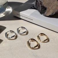 Petal hoop pierce / one color (2P)