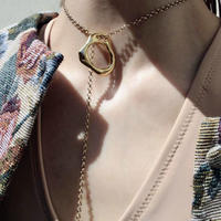 Ethical brass flat ring necklace