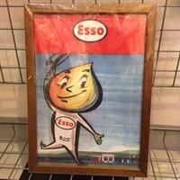 木製フレームポスターL Esso ドロップボーイ手書き風