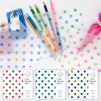 グラシン紙|水玉柄 単色|折り紙サイズ|ラッピング 透けるデザインペーパー